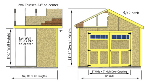 Best Barns Weston 12x16 Wood Garage Kit - All Pre-Cut (weston_1216) Shed Elevation Measurements