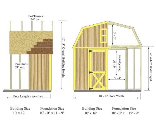 Best Barns Woodville 10x16 Wood Storage Shed Kit (woodville_1016) Shed Elevation