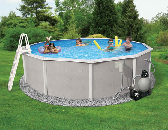 "Blue Wave Barcelona 15' x 52"" Round Pool Package - assembled in backyard"