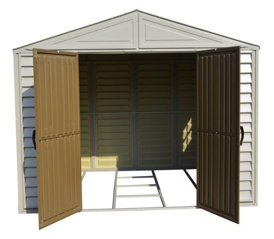 DuraMax 10.5'W x 8'D Woodbridge Adobe Vinyl Shed w/ Foundation (20224)- Best sheds for your backyard.