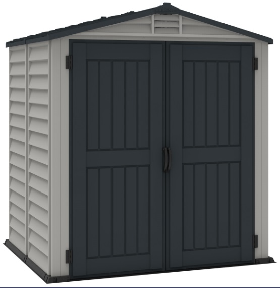 DuraMax 6x6 StoreMate Plus Vinyl Storage Shed Kit w/ Floor Kit (30425) Left side view of the shed