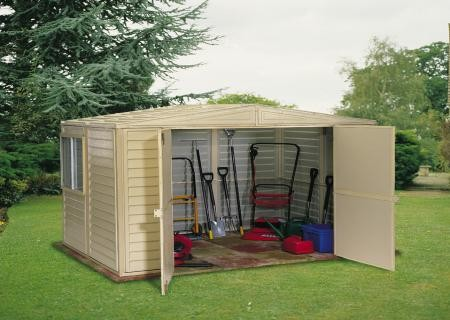 DuraMax 8x8 Duramate Vinyl Shed Kit (00381) This shed will help secure your lawn and garden tools.
