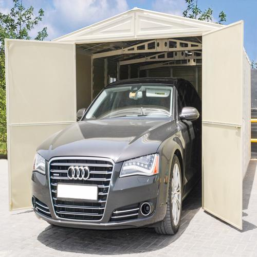DuraMax 10x15 Vinyl Storage Garage Kit (01016) This shed is durable and fairly maintenance free. Good for storing vehicles!