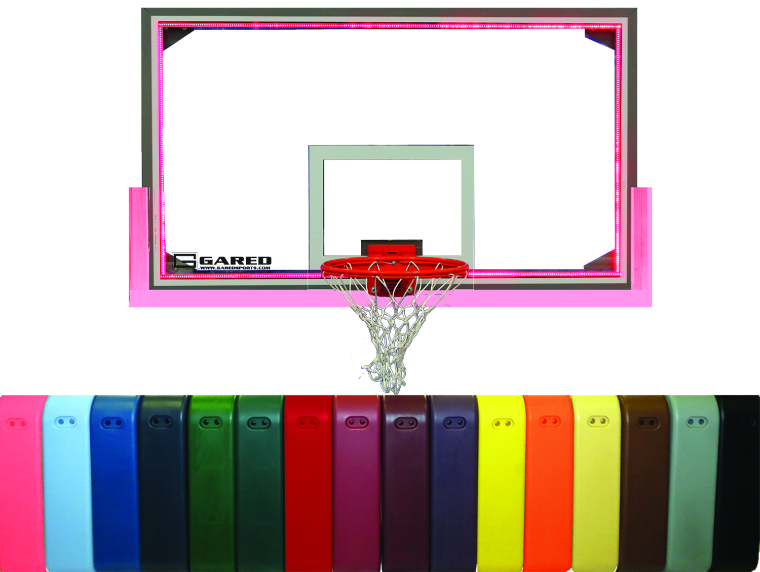 Gared Oversized Glass Backboard Basketball Main Court Package (PKRG20PM-5) Shown in Pink color.