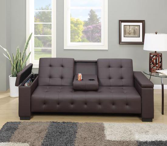 HomeRoots Faux Leather Adjustable Sofa / Bed w/ Dropdown Console - Espresso Brown (315381)-great and effecient to use in your bedroom and living room.