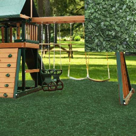 KidWise Playground Recycled Rubber Mulch - Forest Green (KW-GRM-2000) This is great for outdoor play area, and keeps the maintenance cost low for parents.