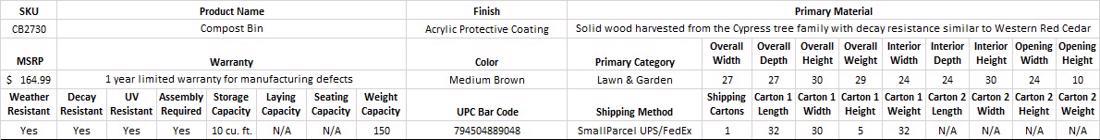 Leisure Season Compost Bin (CB2730) Specification Table