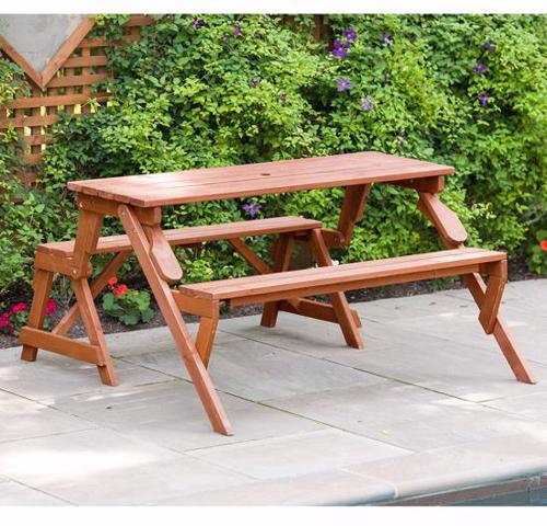 Leisure Season Convertible Wood Picnic Table & Garden Bench Kit (FPTB7104) This picnic table and garden bench is the best companion to your outdoor relaxation.