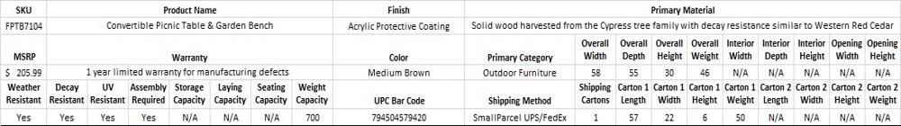 Leisure Season Convertible Wood Picnic Table & Garden Bench Kit (FPTB7104) Specification Table
