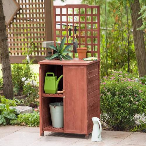 Leisure Season Potting Table With Storage (GST6302) Helps you organize your small garden and lawn tools.