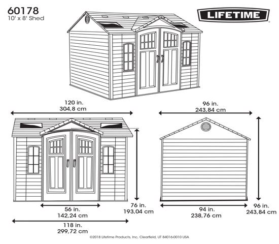 Lifetime 10x8 Side Entry Storage Shed Kit w/ Floor (60178) - Dimensions