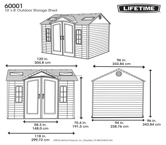 Lifetime 10x8 ft Garden Shed Kit - Double Doors (60001) -  Dimensions
