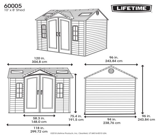 Lifetime 10x8 ft Garden Storage Shed Kit (60005) - Dimensions