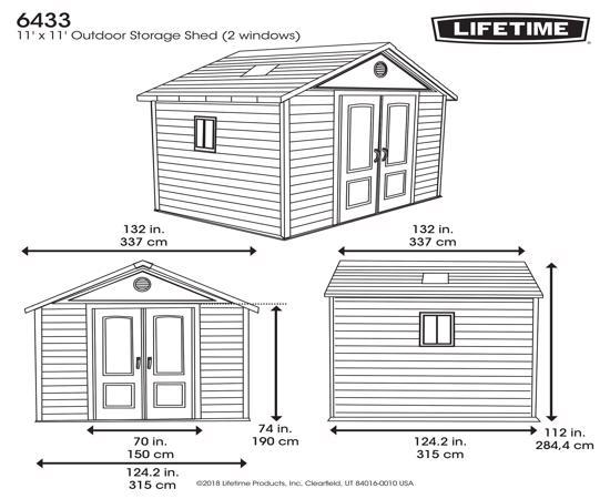 Lifetime 11x11 ft Outdoor Storage Shed Kit (6433) - Dimensions