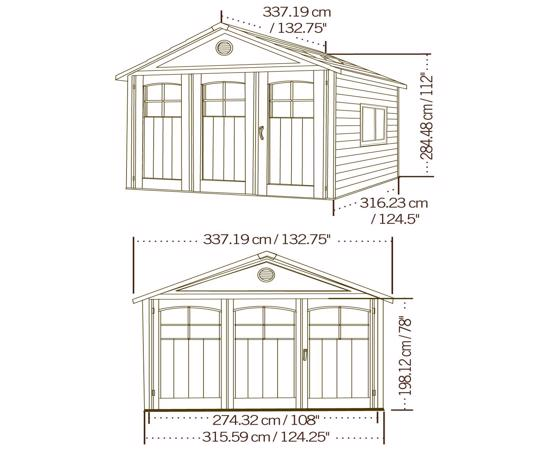 Lifetime 11x11 ft Storage Shed Kit with Tri-Fold Doors (60187) -  Dimensions