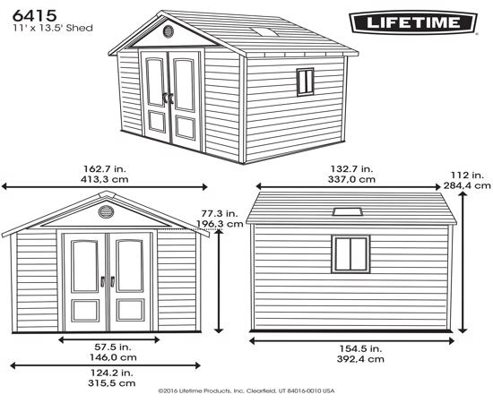 Lifetime 11x13.5 ft Outdoor Storage Shed Kit (6415) - Dimensions