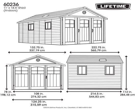 Lifetime 11x18.5 ft Storage Garage Shed Kit (60236) - Dimensions