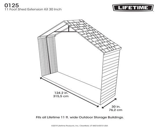Lifetime 11x2.5 ft Storage Building Expansion Kit (0125) - Perfest extension for your Lifetime 11foot sheds