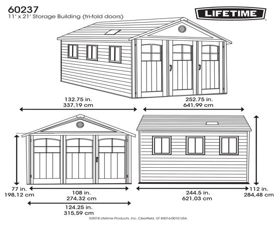 Lifetime 11x21 ft Storage Building Kit - Tri-Fold Doors (60237) - Dimensions