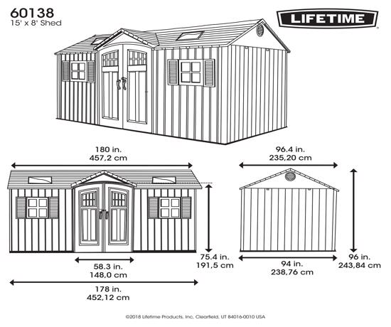 Lifetime 15x8 New Style Storage Shed Kit w/ Floor (60138) - Dimensions