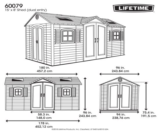 Lifetime 15x8 ft Storage Shed Kit - Dual Entry (60079) -  Dimensions