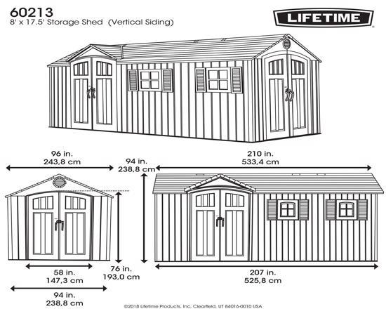Lifetime 17.5x8 Plastic Storage Shed Kit w/ Double Doors (60213) - Dimensions