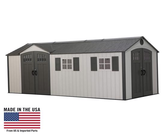 Lifetime 17.5x8 Plastic Storage Shed Kit w/ Double Doors (60213) - Excellent storage shed solutions.