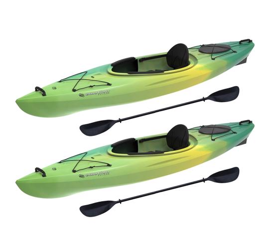 Lifetime 2 Pack Emotion Tide 10' Sit-In Kayaks w/ Paddles - Lemongrass Fusion (90877) - Enhance your paddling experience with partner.