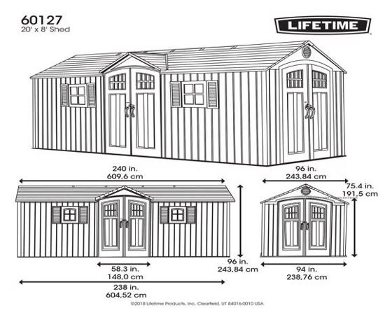 Lifetime 20x8 New Style Storage Shed Kit w/ Floor (60127) - Dimensions