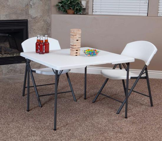 """Lifetime 34"""" Fold-In-Half Card Table - White Granite (80273) - Convenient to store at home and office."""