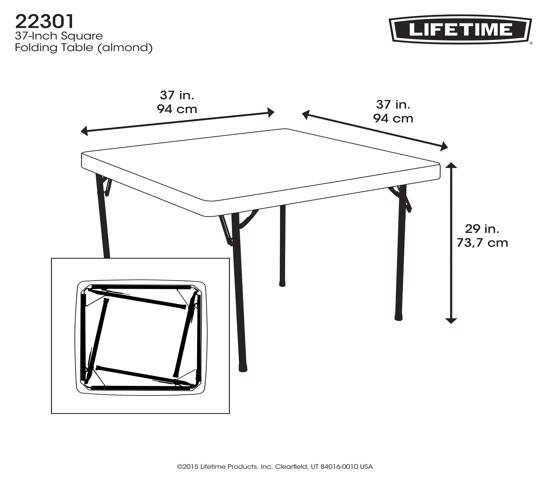 Lifetime 37 in. Square Folding Card Table - Almond (22301) -  Convenient and perfect for indoor and outdoor use.