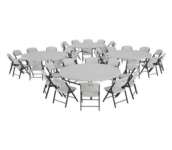 Lifetime 4 Tables / 40 Chairs - 72 in. Commercial Round Tables and Chairs Set - White (80145) - Convenient and great for parties and big events.