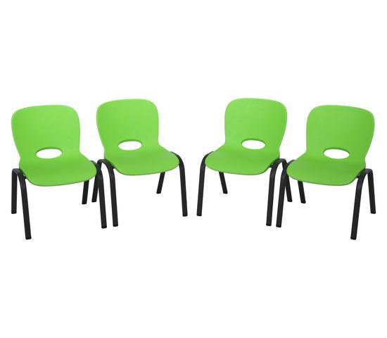 Lifetime 4-pack Contemporary Children's Stacking Chairs - Lime Green (80473) - Unique style designed just for kids.
