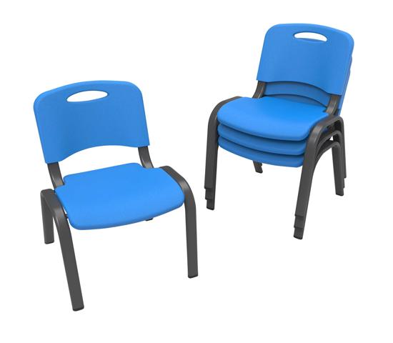 Lifetime 4-Pack Commercial Children's Stacking Chair - Dragonfly Blue (80533) - Perfect for your child's play or lunch time.