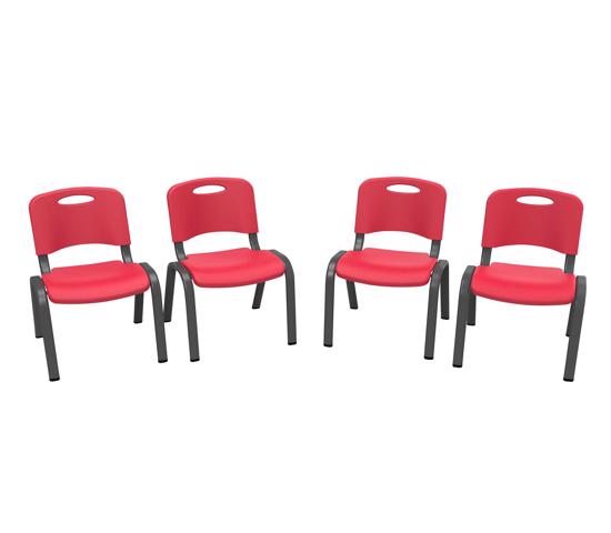 Lifetime 4-Pack Commercial Children's Stacking Chair - Fire Red (80532) -  Ideal for your child's play or lunch time.