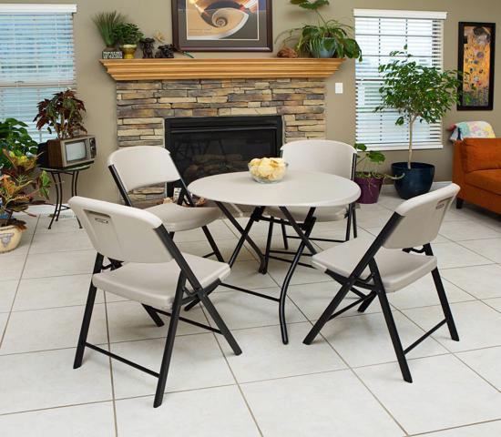 Lifetime 4-Pack Commercial Contoured Folding Chairs - Putty (80186) - Designed for comfort and built for durability.