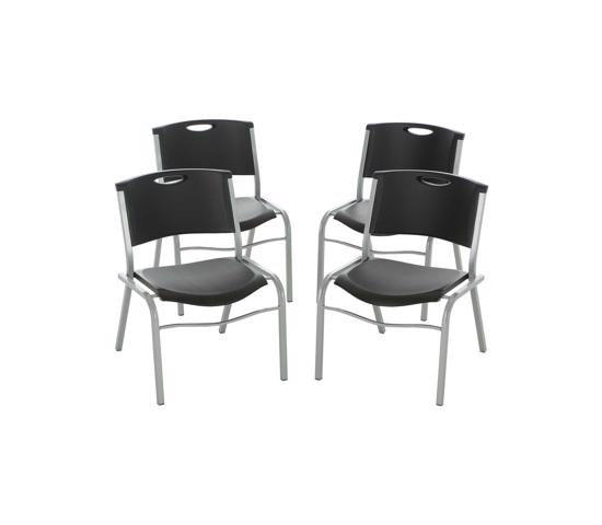 Lifetime  4-Pack Commercial Contoured Stacking Chair - Black (42830) -  Design allows you to stack multiple chairs together for easy storage