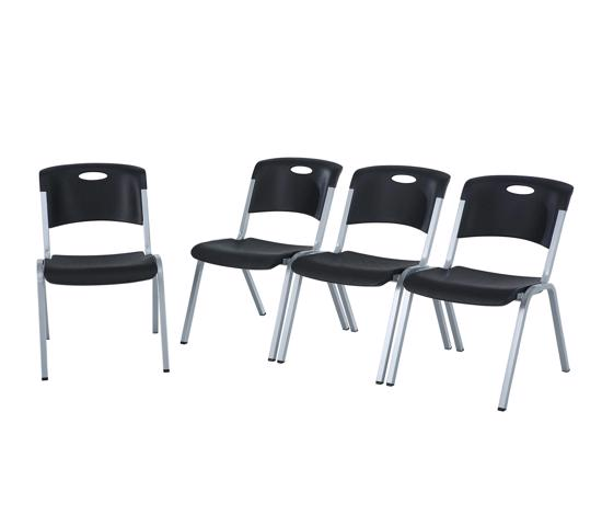 Lifetime 4-pack Contemporary Stacking Chairs - Black (480310) - Ideal for banquet halls or conference centers or churches.