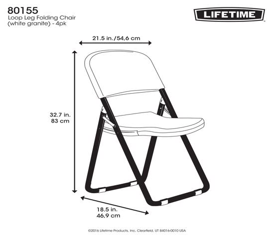 Lifetime 4-Pack Light Commercial Loop Leg Contoured Folding Chairs - White (80155) - Designed with legs that won't sink into the lawn and outdoor area..