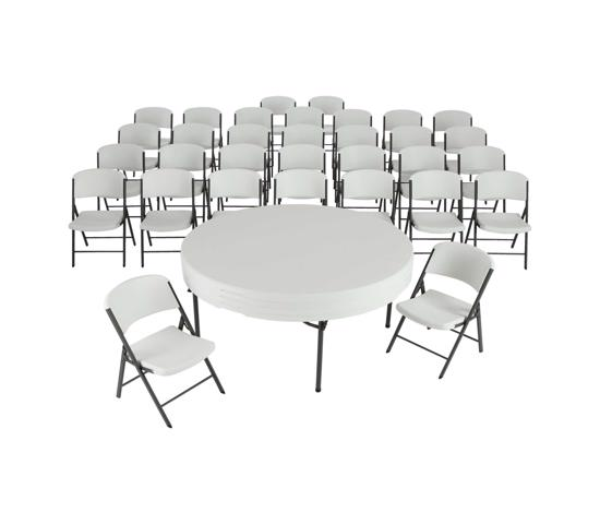 Lifetime 4 Round Tables & 32 Chairs Set - White - Commercial Grade (80458) - Ideal for big events and seminar.