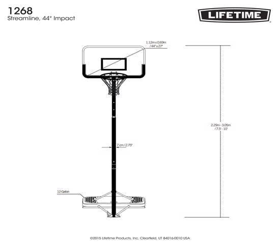 Lifetime 44 in. Portable Basketball Hoop (1268) - Enjoy the game at your level without the use of any tools.