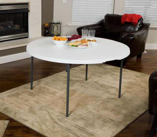 Lifetime 48 in. Light Commercial Round Fold-In-Half Table - White (280064) - Convenient and easily transport to your next event.