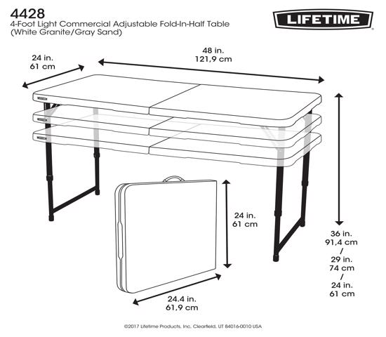 Lifetime 4 ft. Adjustable Height Fold-In-Half Table - White (4428) - Easy for transportation and convenient to carry.