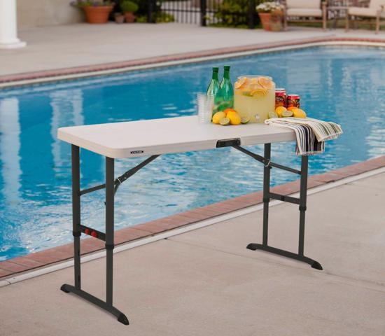Lifetime 4ft Commercial Adjustable Folding Table with One Hand Adjust - Almond (80387) -  Designed with a one hand adjustment mechanism.