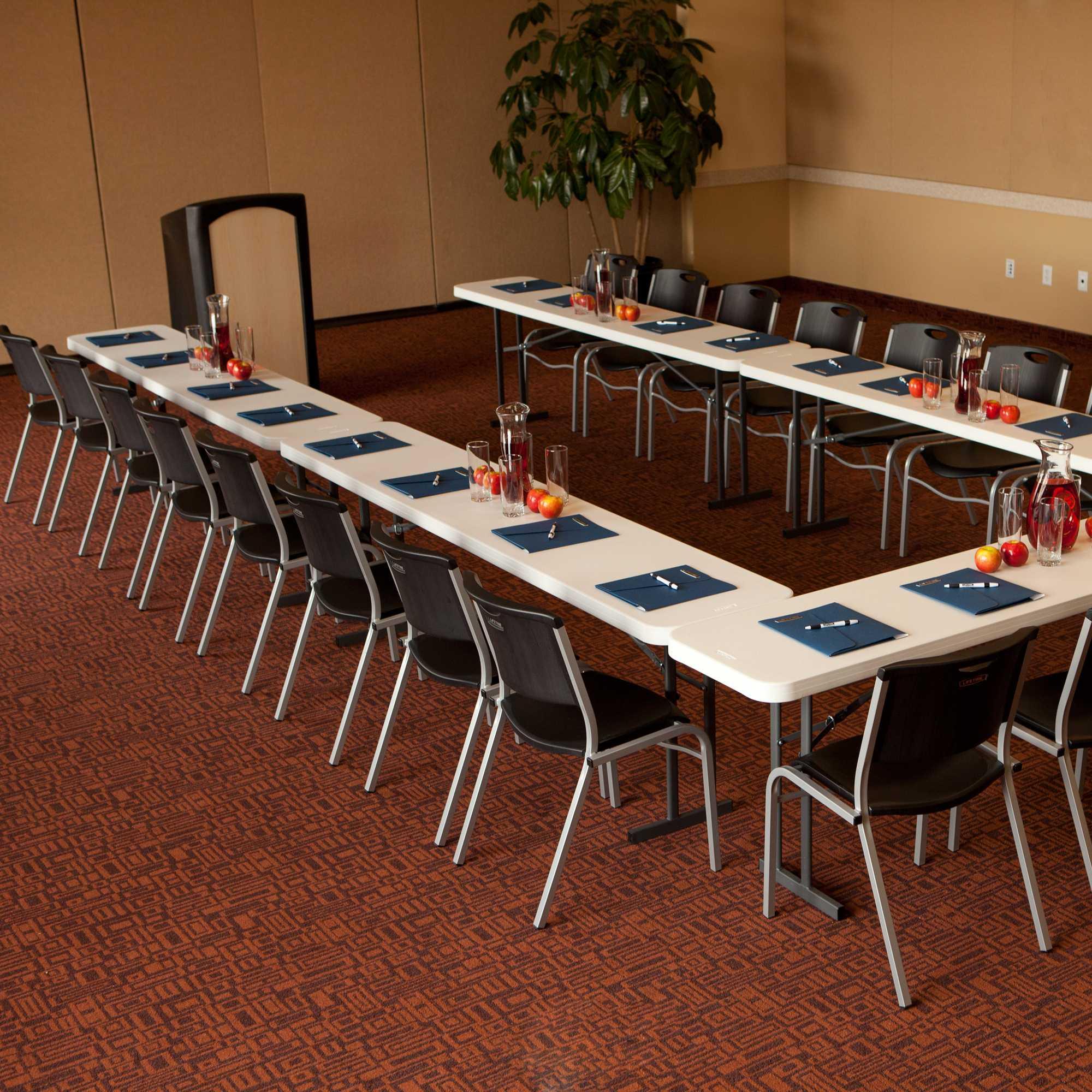 Lifetime 5 Pack 8 ft Commercial Folding Seminar Tables  White Granite 580177-Perfect for seminars.