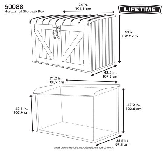 Lifetime 6.25 X 3.5 Ft Horizontal Shed (60088) - Design help keep your valuables safe.