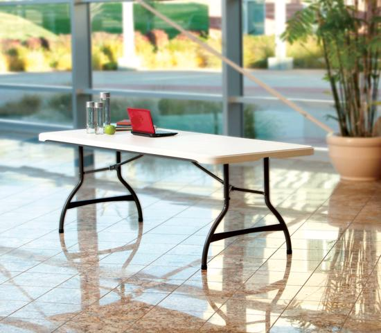 Lifetime 6-Foot Commercial Stacking Folding Table - White Granite (80306) - Gives extra seating and entertaining space.