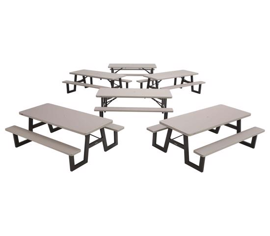Lifetime 6-PACK A-Frame Folding Picnic Tables - Putty (860030) - Great tables for back yards, campgrounds, or cafeterias.