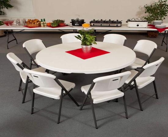 Lifetime 60-Inch Round Commercial Stacking Folding Table - Almond (280435) - Ideal for family gatherings and other business events.