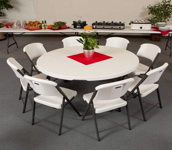 Lifetime 60-Inch Round Commercial Stacking Folding Table - White (280301) - Perfect for banquets, meetings or events.